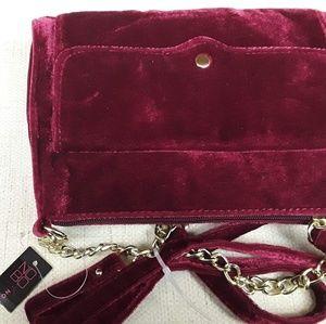 Boho Red Velvet purse crossbody New tags